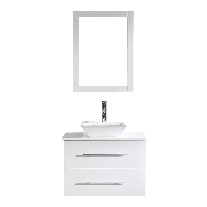 Virtu MS-560-S-WH-001 Marsala 29 Inch Single Bathroom Vanity Set In White With Engineered Stone Top