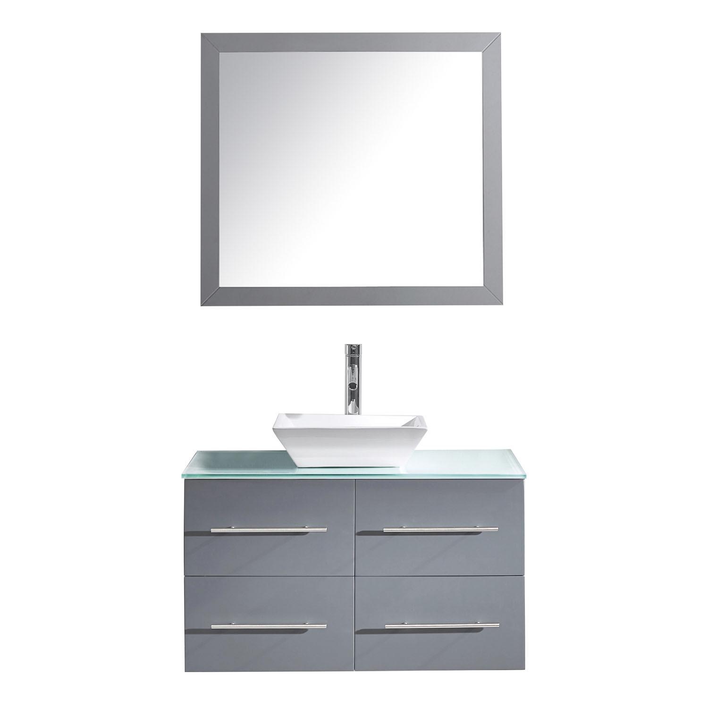 Virtu MS-565-G-GR-001 Grey Marsala 35 Inch Single Bathroom Vanity Set With Glass Top