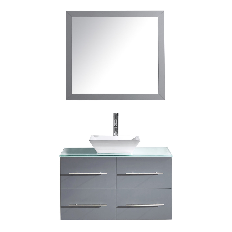 Virtu MS-565-G-GR Grey Marsala 35 Inch Single Bathroom Vanity Set With Glass Top