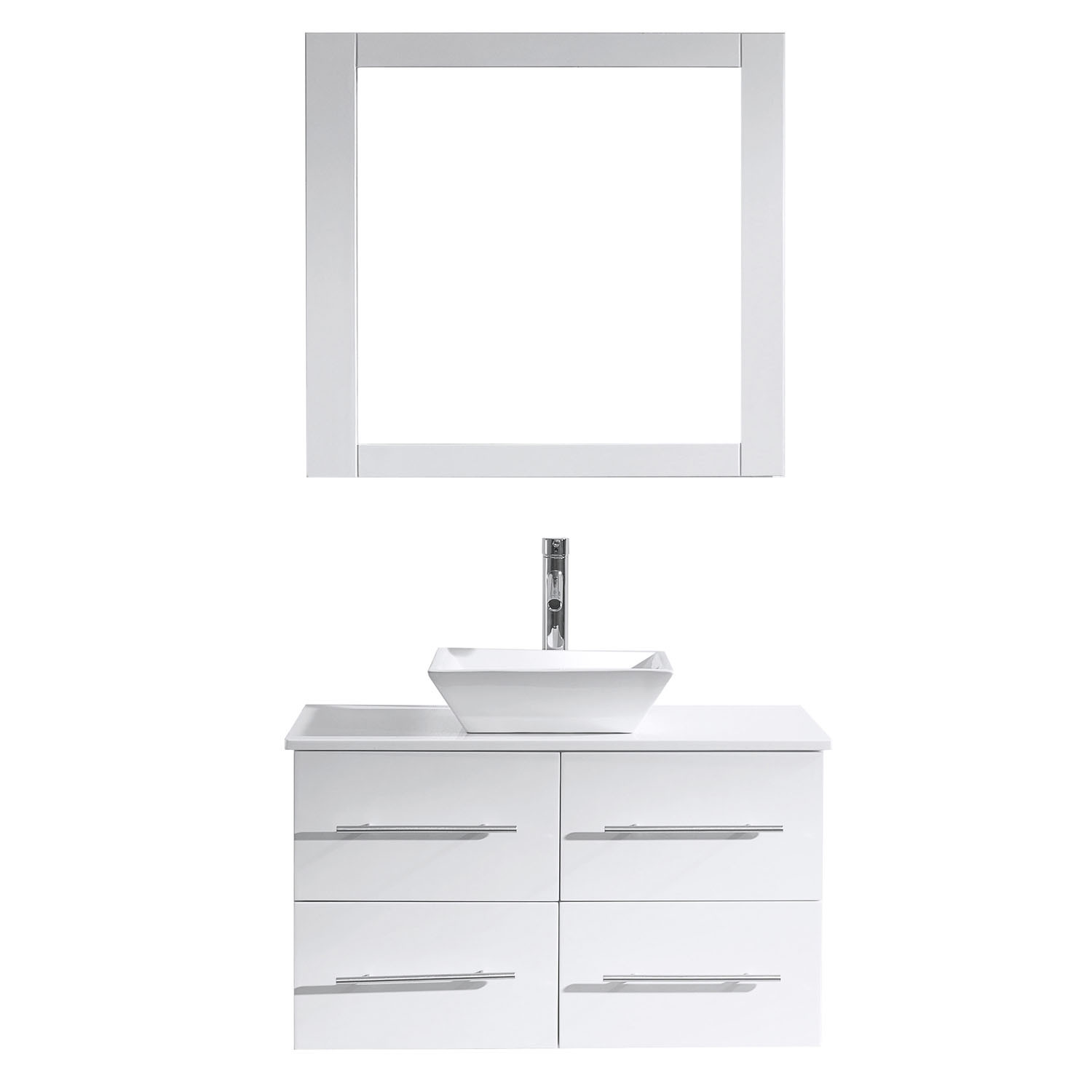 Virtu MS-565-S-WH-001 White Marsala 35 Inch Single Bathroom Vanity Set With Engineered Stone Top