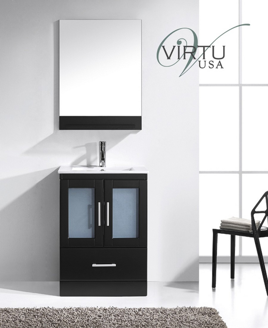 "Virtu MS-6724-C-ES 24"" Zola Espresso One Vanity with Ceramic Top"
