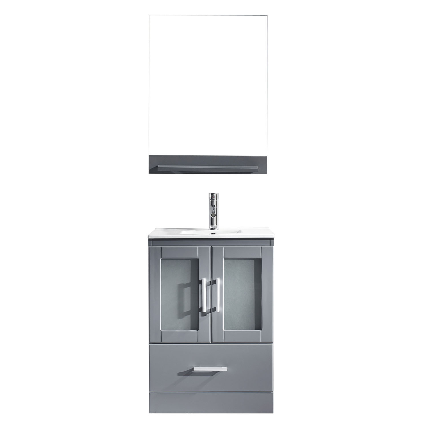 Virtu MS-6724-C-GR-001 Zola 24 Inch Single Bathroom Vanity Set In Grey