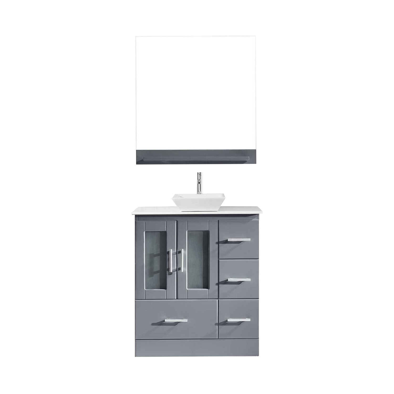 Virtu MS-6730-S-GR-001 Zola 30 Inch Single Bathroom Vanity Set In Grey