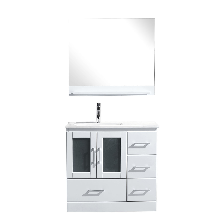 Virtu MS-6736-C-WH Zola 36 Inch Single Bathroom Vanity Set In White