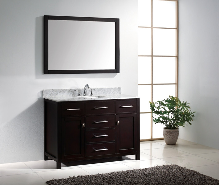 "Virtu USA MS-2048-WMSQ-ES 48"" Caroline Single Square Sink Vanity in Espresso"