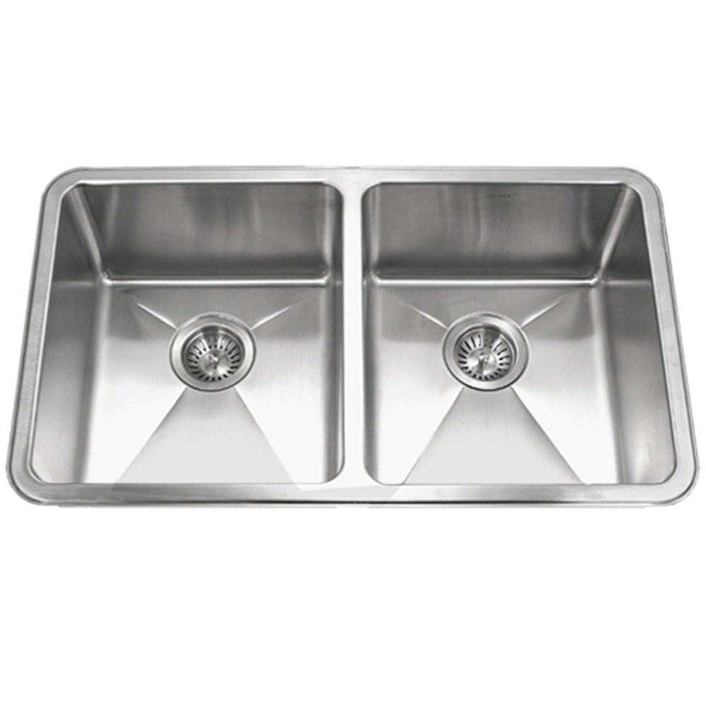 Houzer NOD-4200 Nouvelle 25mm Radius Undermount Stainless Steel 50/50 Double Bowl Kitchen Sink