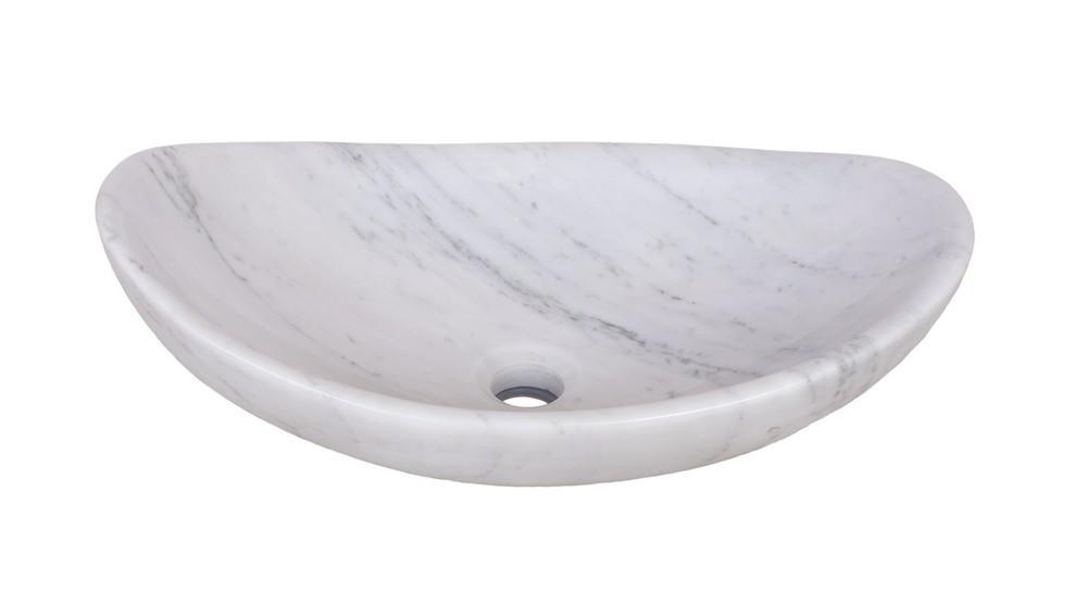 Novatto NOSV-CWS Carrera White Marble Slipper Vessel Sink With Drain