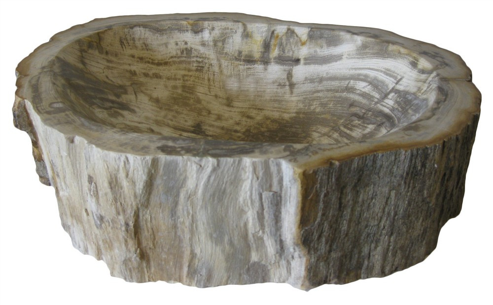 Novatto NOSV-FW Petrified Fossil Wood Vessel Sink With Umbrella Drain