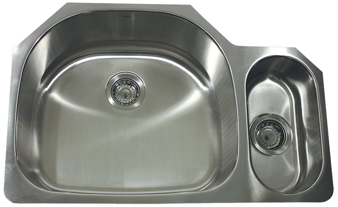 Nantucket Sinks NS04-16 Double Bowl D-Bowl Undermount Stainless Steel Kitchen Sink