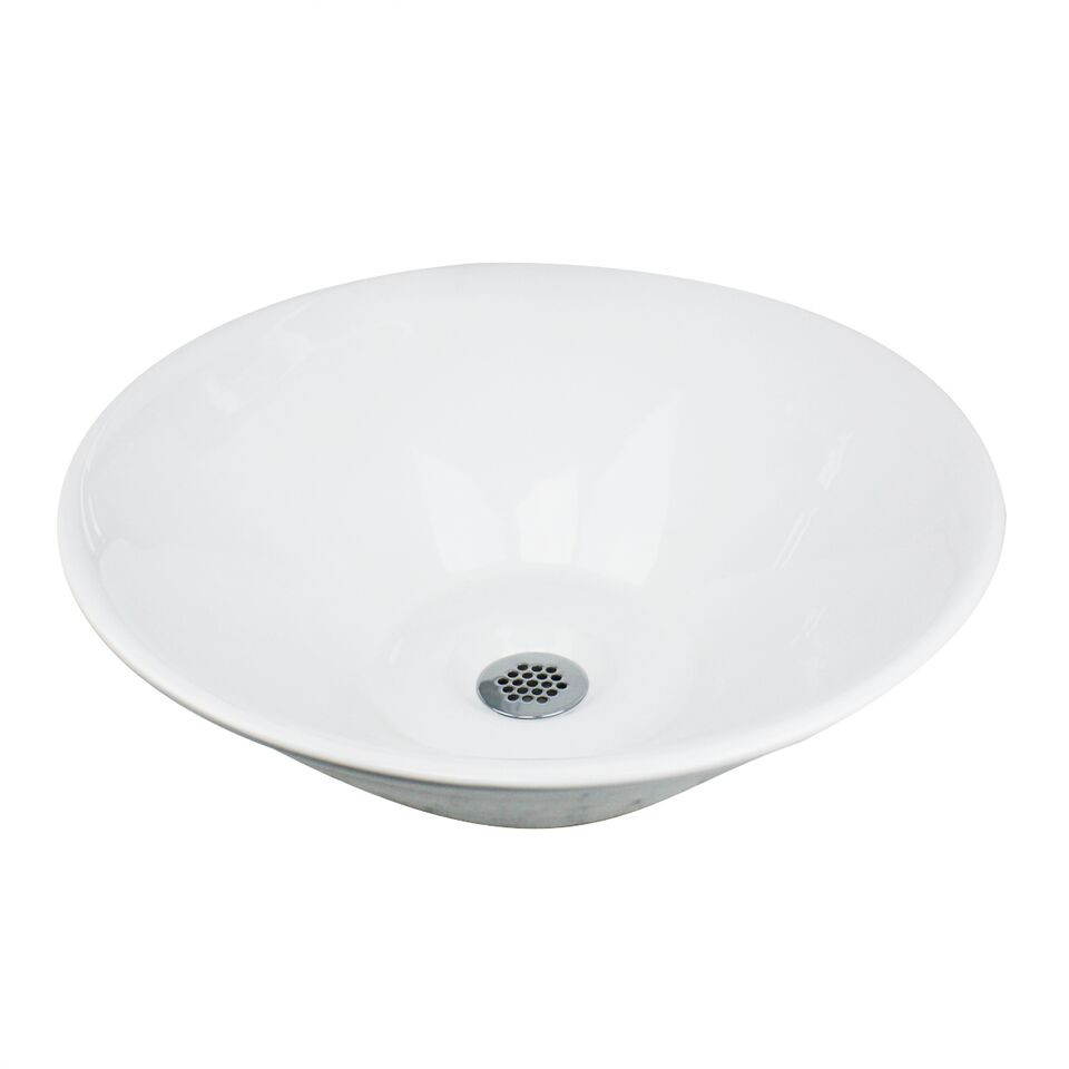 """Nantucket Sinks NSV222 16"""" Round Ceramic Vessel Cone Vanity Bathroom Sink"""