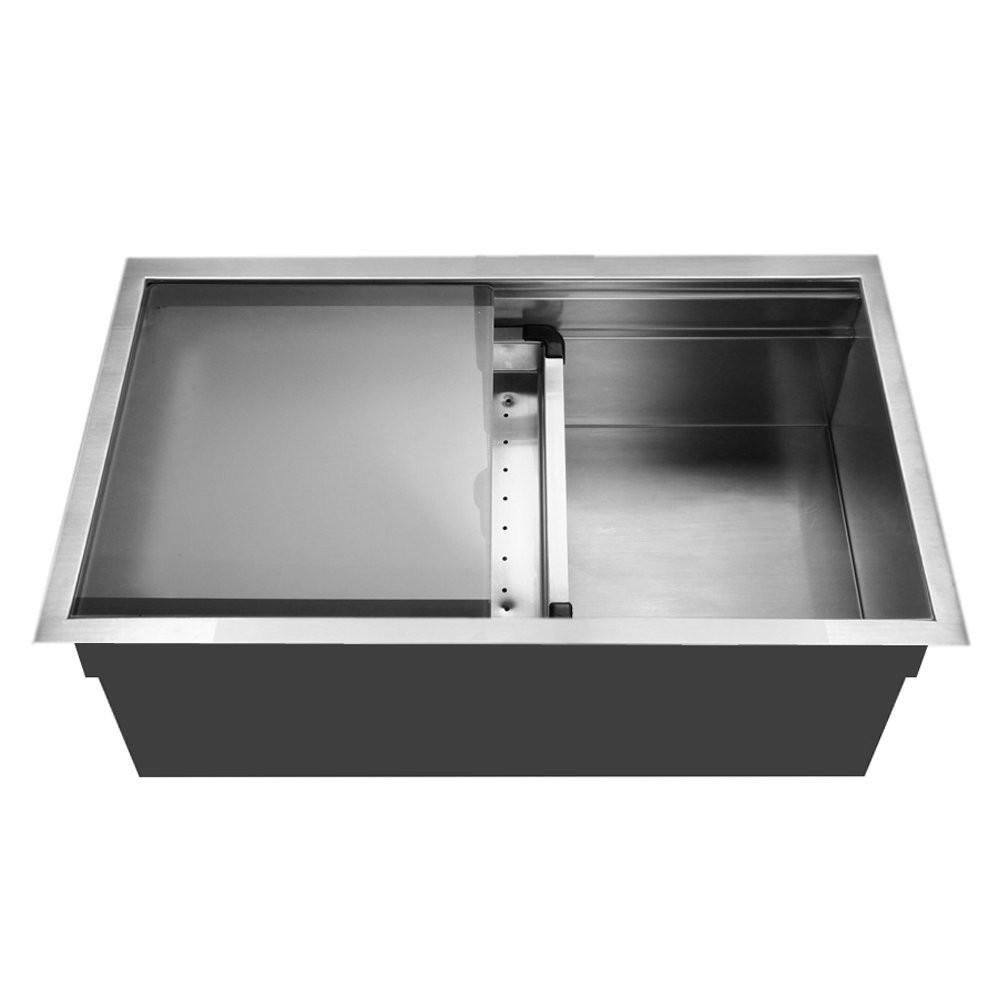 Houzer NVS-5200 Dual Level Undermount Large Single Bowl Kitchen Sink with Sliding Platform