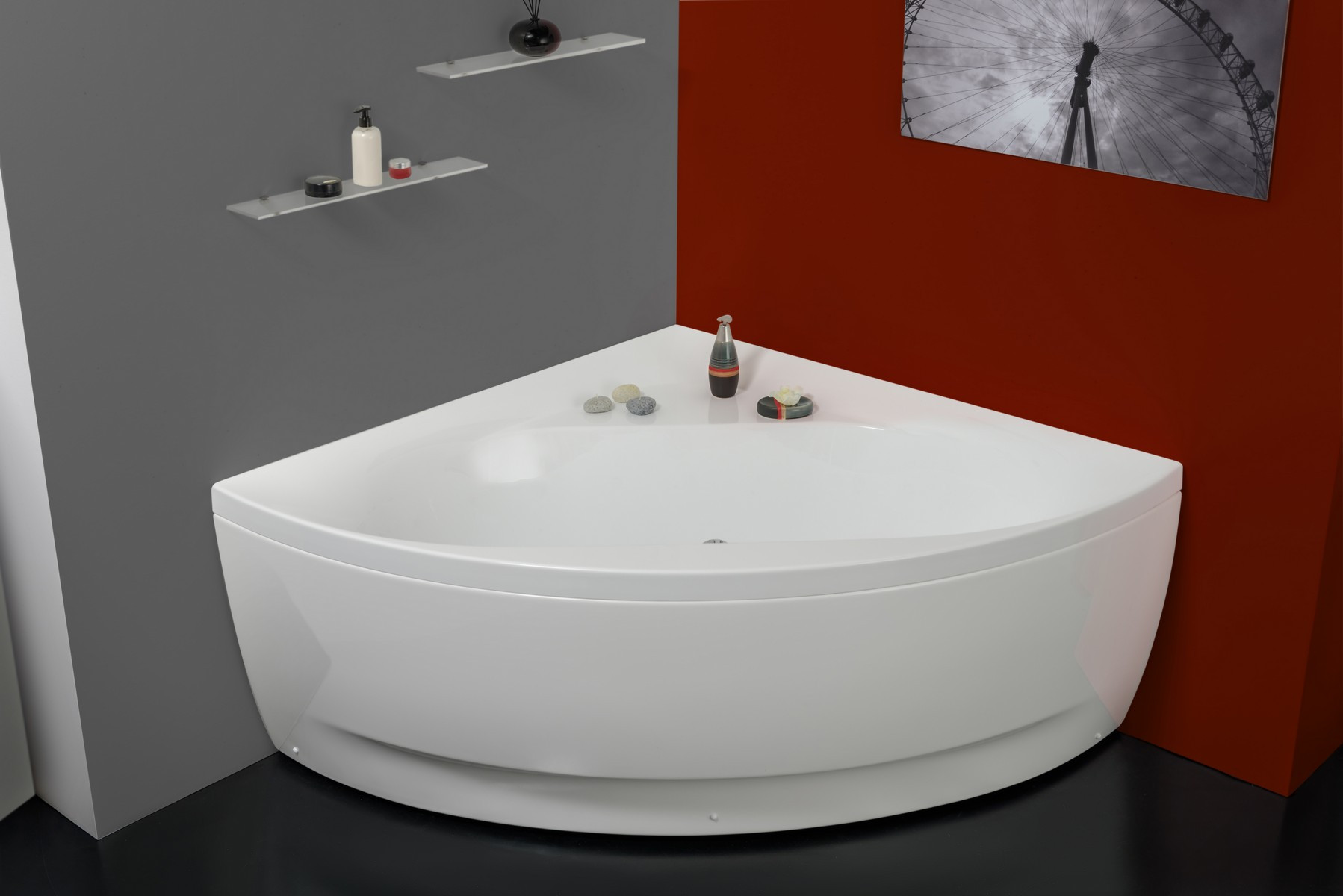 Aquatica Oliv-Wht Triangular Freestanding Acrylic Bathtub in White