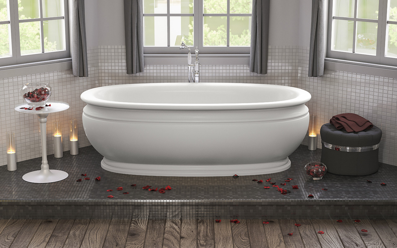 Aquatica Olympian-Wht Olympian Savio Freestanding Solid Surface Bathtub In Matte White