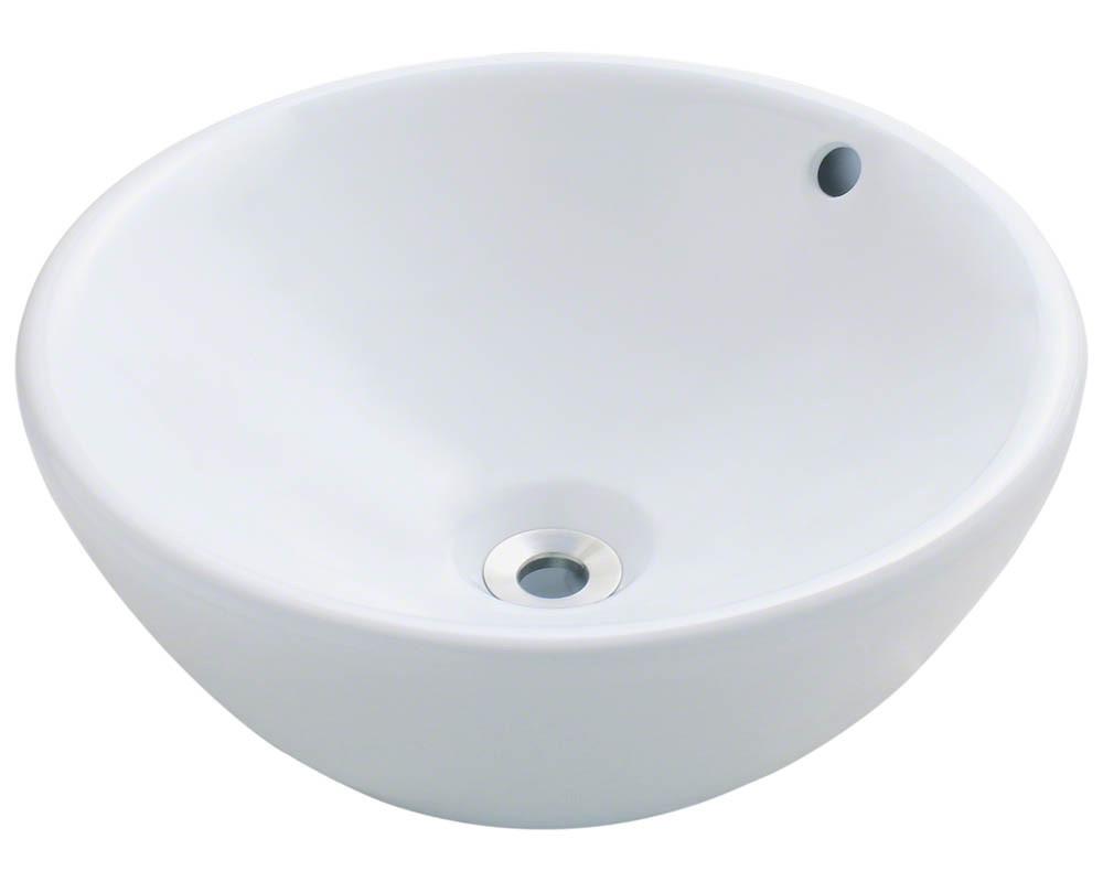 Polaris Sinks P0022V-W Above Mount Round Porcelain Vessel Bathroom Sink in White