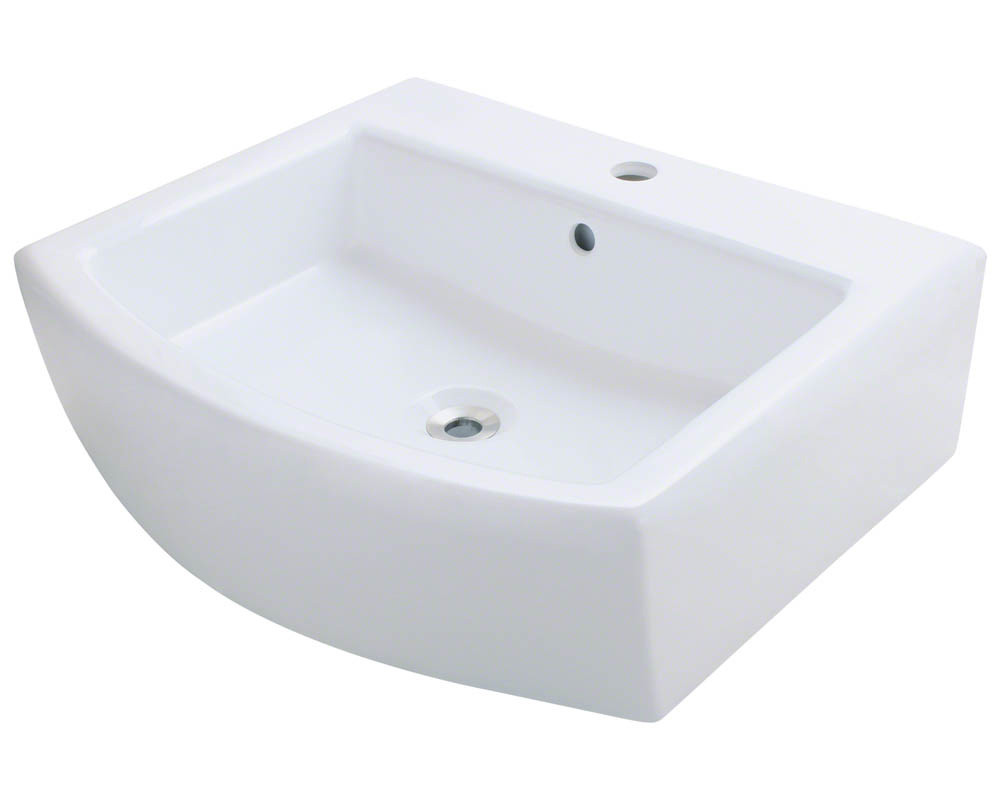 Polaris P003V-W Rectangular Porcelain Vessel Bathroom Sink in White with Overflow