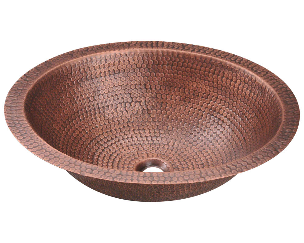 Single Bowl Oval Copper Bathroom Sink