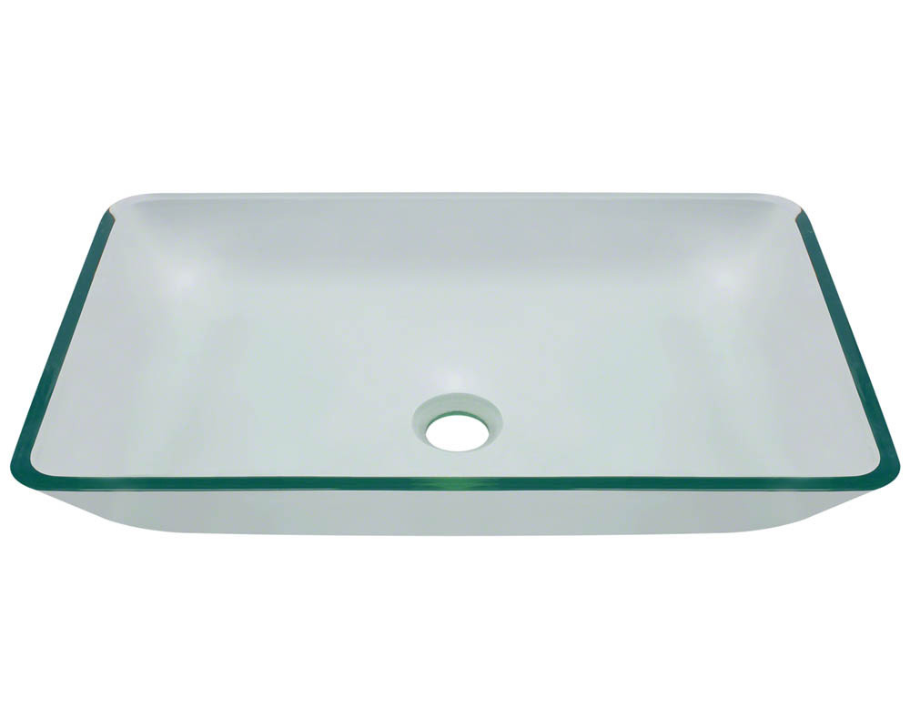Polaris Sinks P046-Crystal Rectangular Fully Tempered Glass Vessel Sink