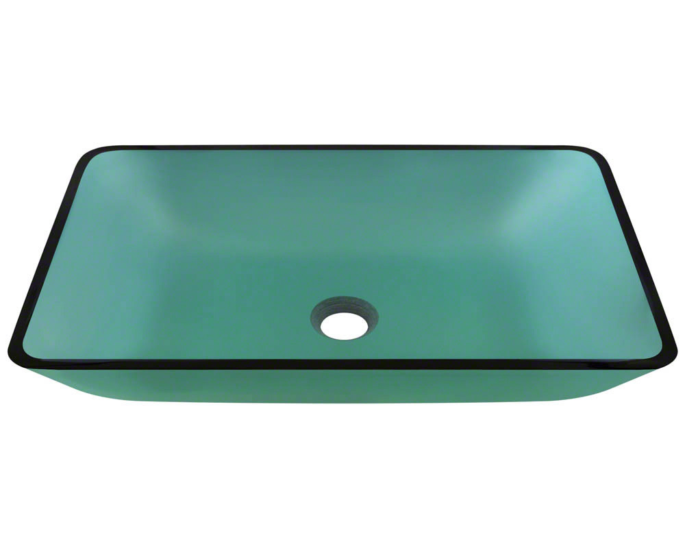 Polaris Sinks P046-Emerald Rectangular Fully Tempered Glass Vessel Sink