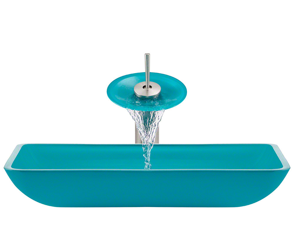 Polaris Sinks P046-TQ-BN Turquoise Square Bathroom Vessel Sink Ensemble