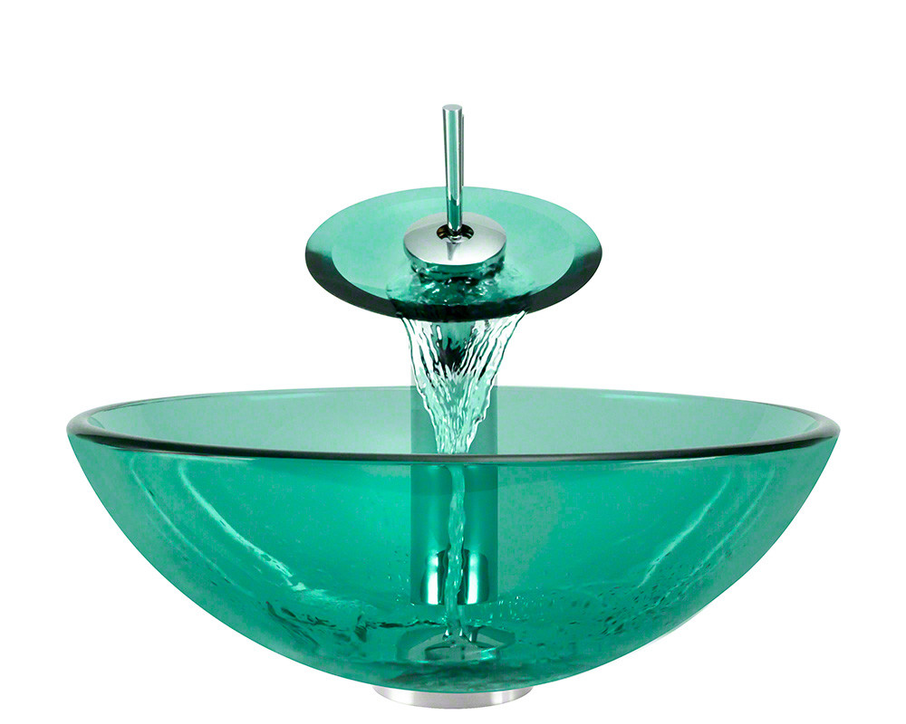 Polaris Sinks P106-E-WF-C Emerald Bathroom Tempered Glass Vessel Sink Ensemble