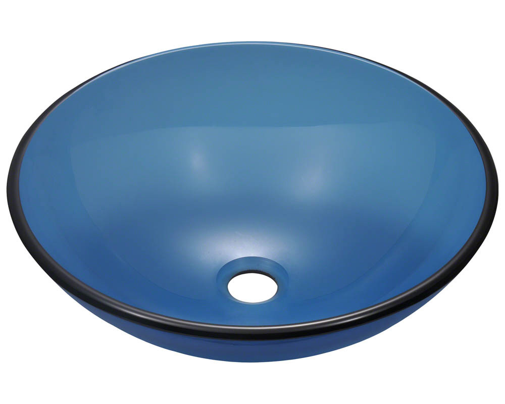 Polaris Sinks P106-Aqua Rounded Fully Tempered Glass Vessel Sink
