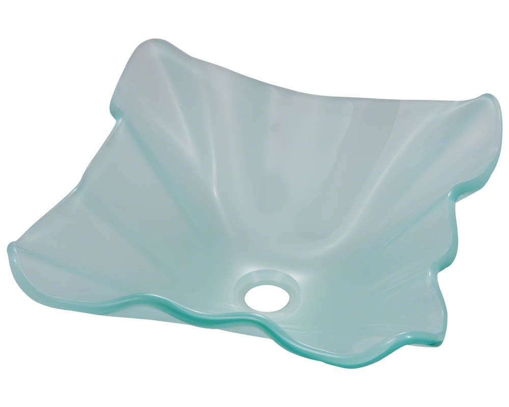 Polaris Sinks P116-Frosted  Soft Wavy Edges Frosted glass vessel Sink
