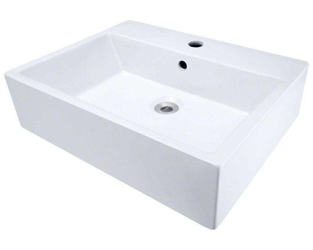 Polaris Sinks P2052V Above mount Rectangular Porcelain Vessel Sink in White