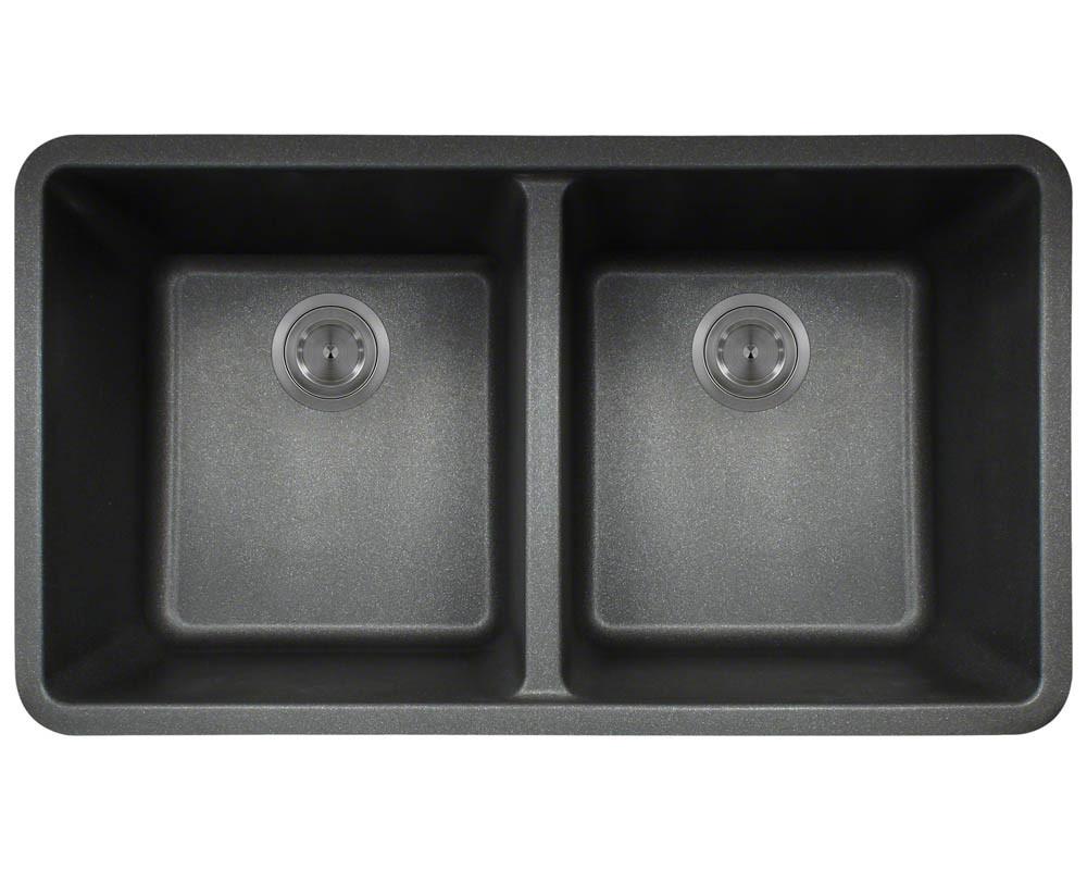 Polaris P208BL Double Equal Bowl Granite Kitchen Sink