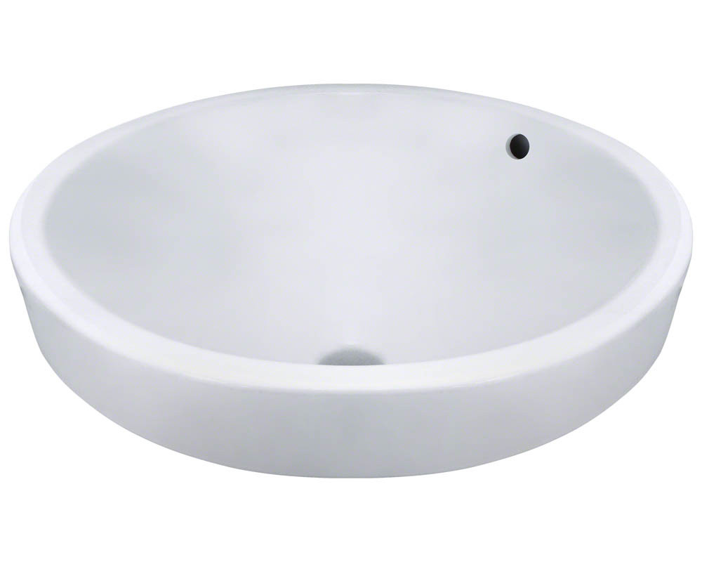 Polaris P28122V-W Round Porcelain Vessel Lavatory Sink with Overflow in White