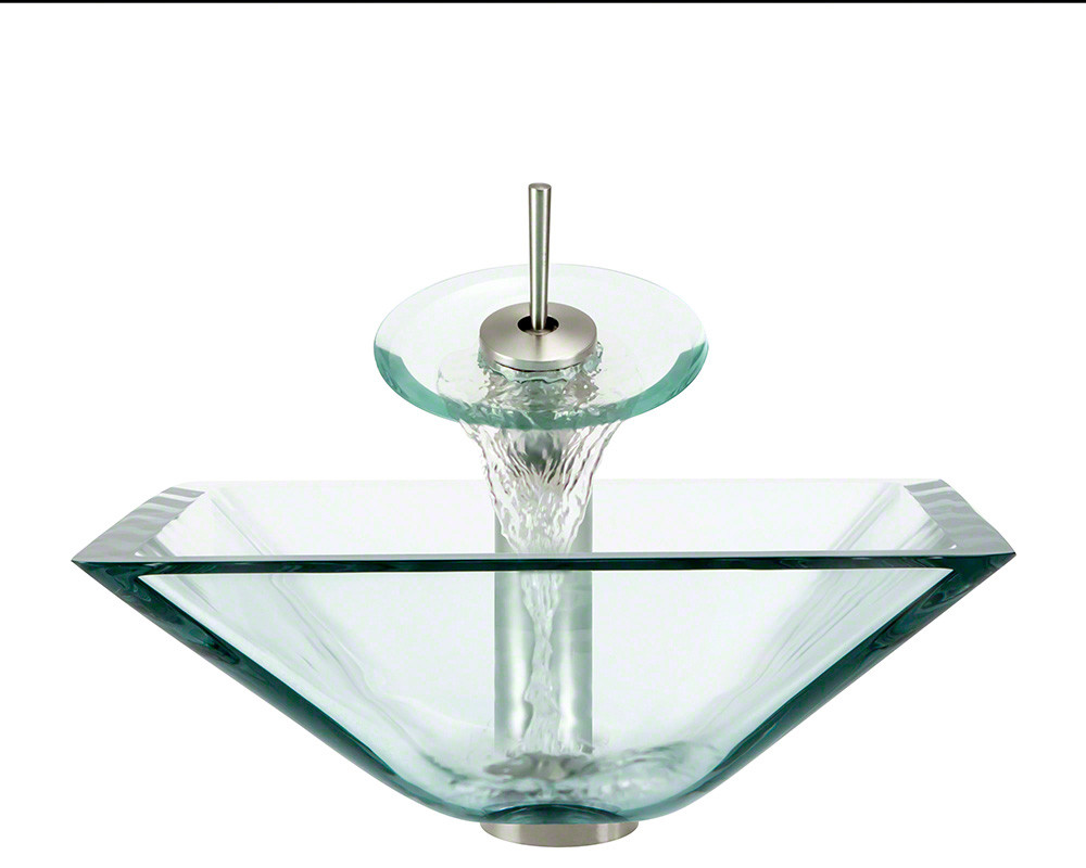 Polaris Sinks P306-CR-WF-BN Crystal Colored Square Glass Vessel Sink and Faucet