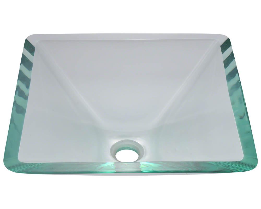 "Polaris Sinks P306-Crystal 16 1/2"" x 16 1/2"" x 6"" Tempered Glass Vessel Sink"