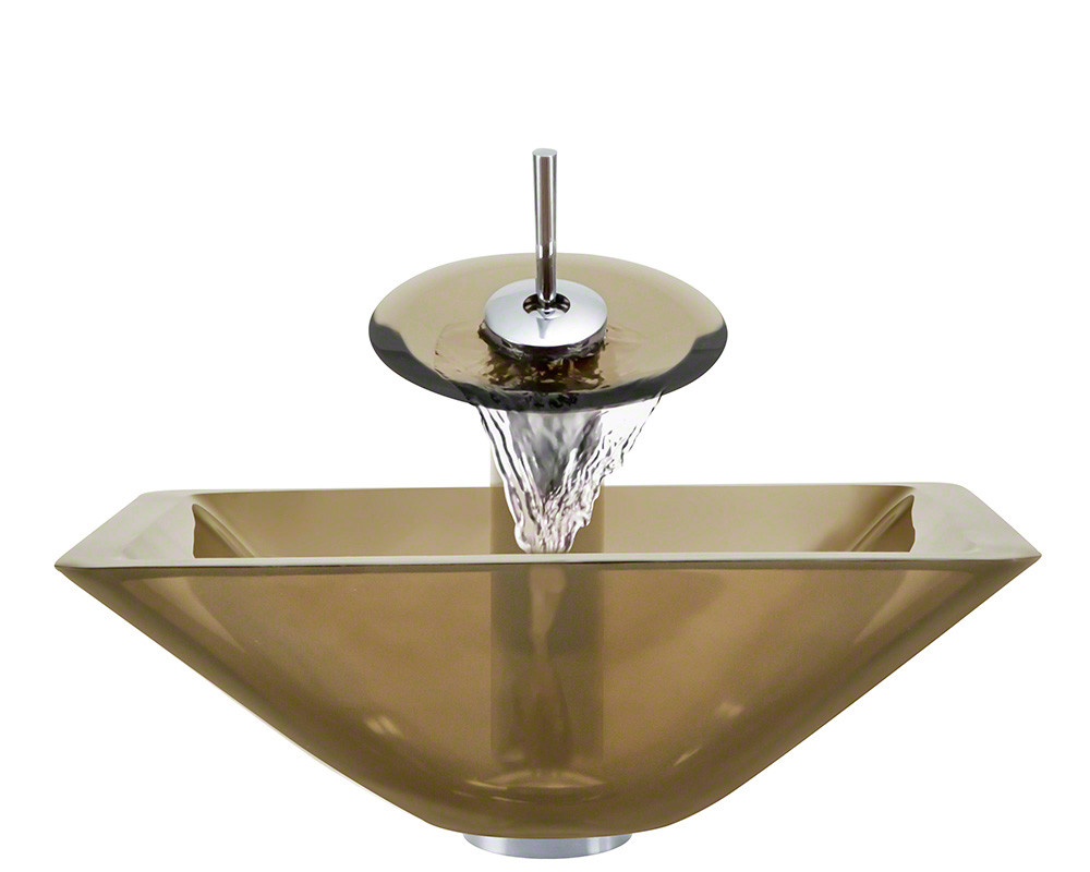Polaris Sinks P306-TAU-WF-C Taupe Colored Square Glass Vessel Sink and Faucet