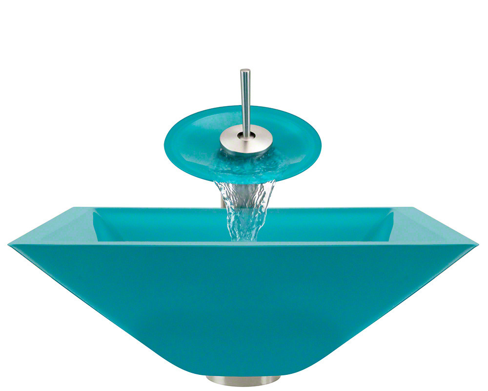 Polaris Sinks P306-TQ-WF-BN Turquoise Colored Square Glass Vessel Sink and Faucet
