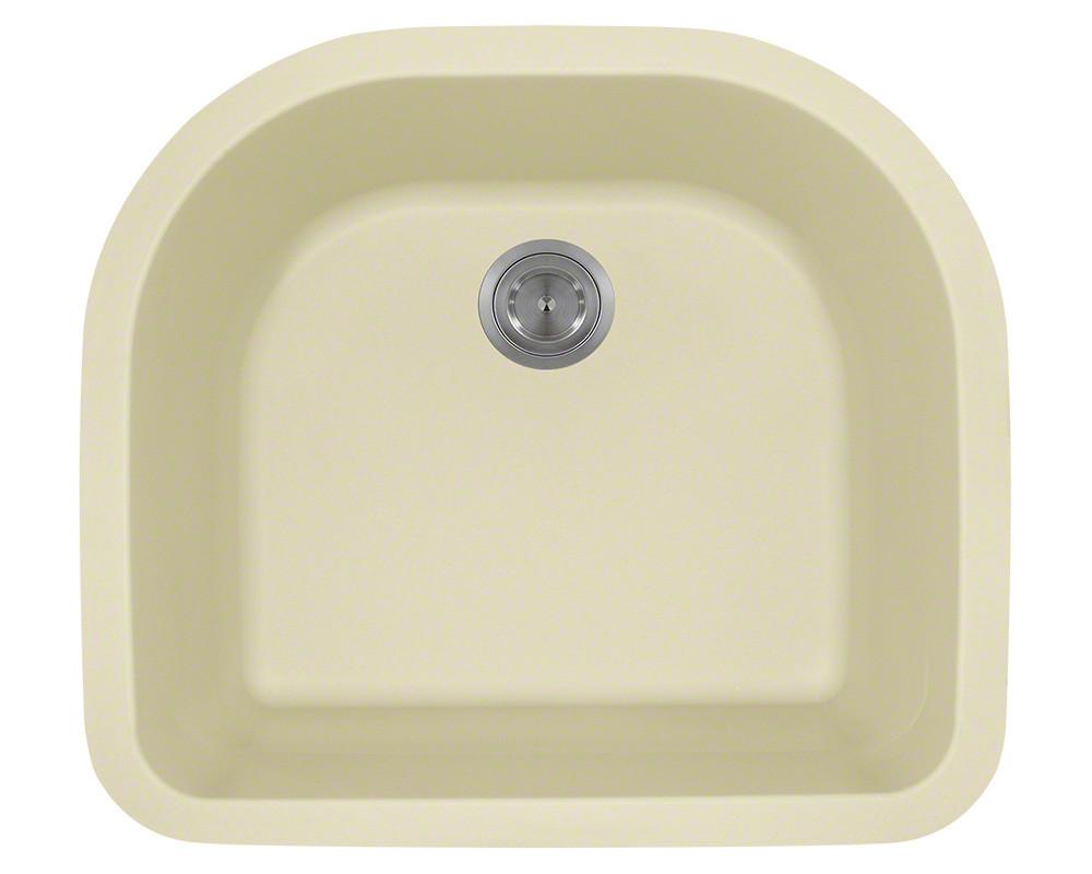 Polaris Sinks P428-Beige Undermount Single D-Bowl AstraGranite Kitchen Sink in Beige