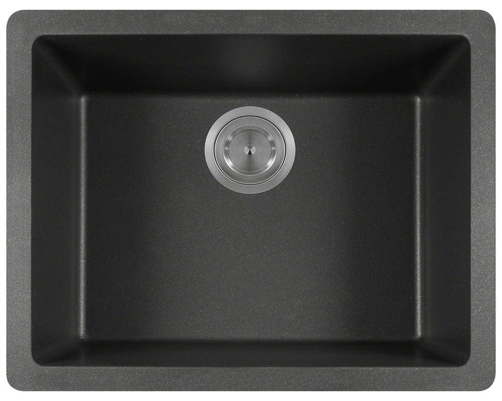 Polaris Sinks P808-Black Single Bowl Rectangular AstraGranite Sink