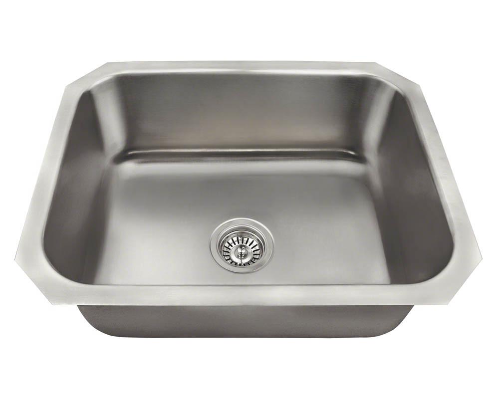 Polaris Sinks P8301US Single Bowl Stainless Steel Kitchen Sink in Brushed Satin