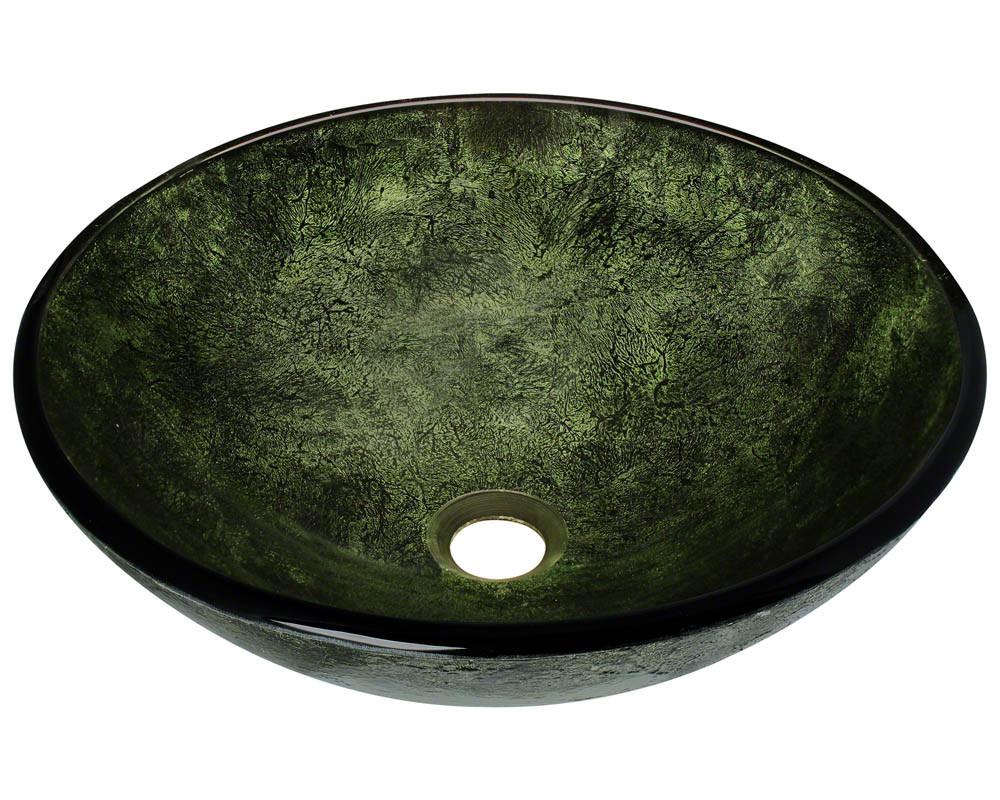 Polaris Sinks P926 Single Bowl Forest Green Glass Vessel Bathroom Sink in Green