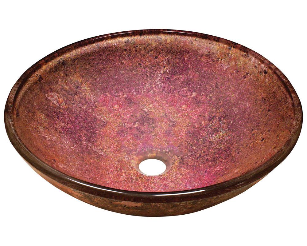 Polaris Sinks P936 Single Bowl Foil Undertone Glass Vessel Sink in Pink