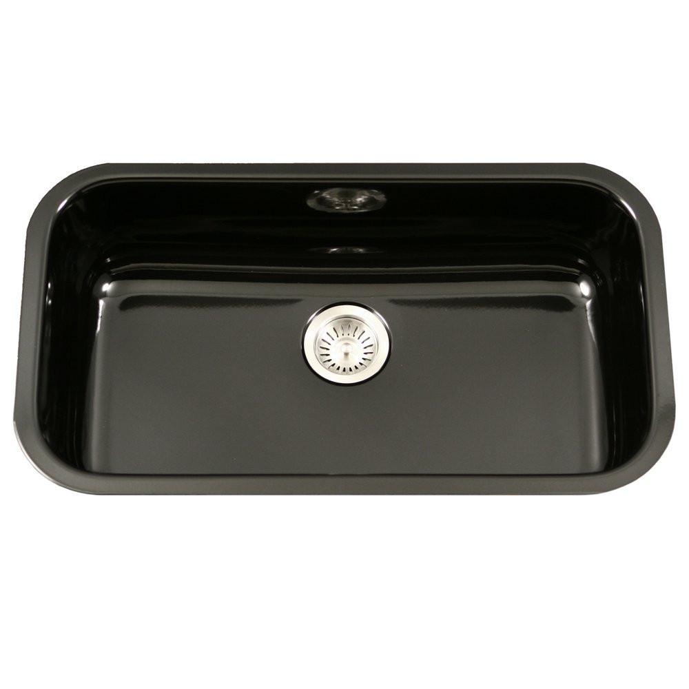 Houzer PCG-3600 BL Porcela Series Undermount Large Single Bowl Kitchen Sink In Black
