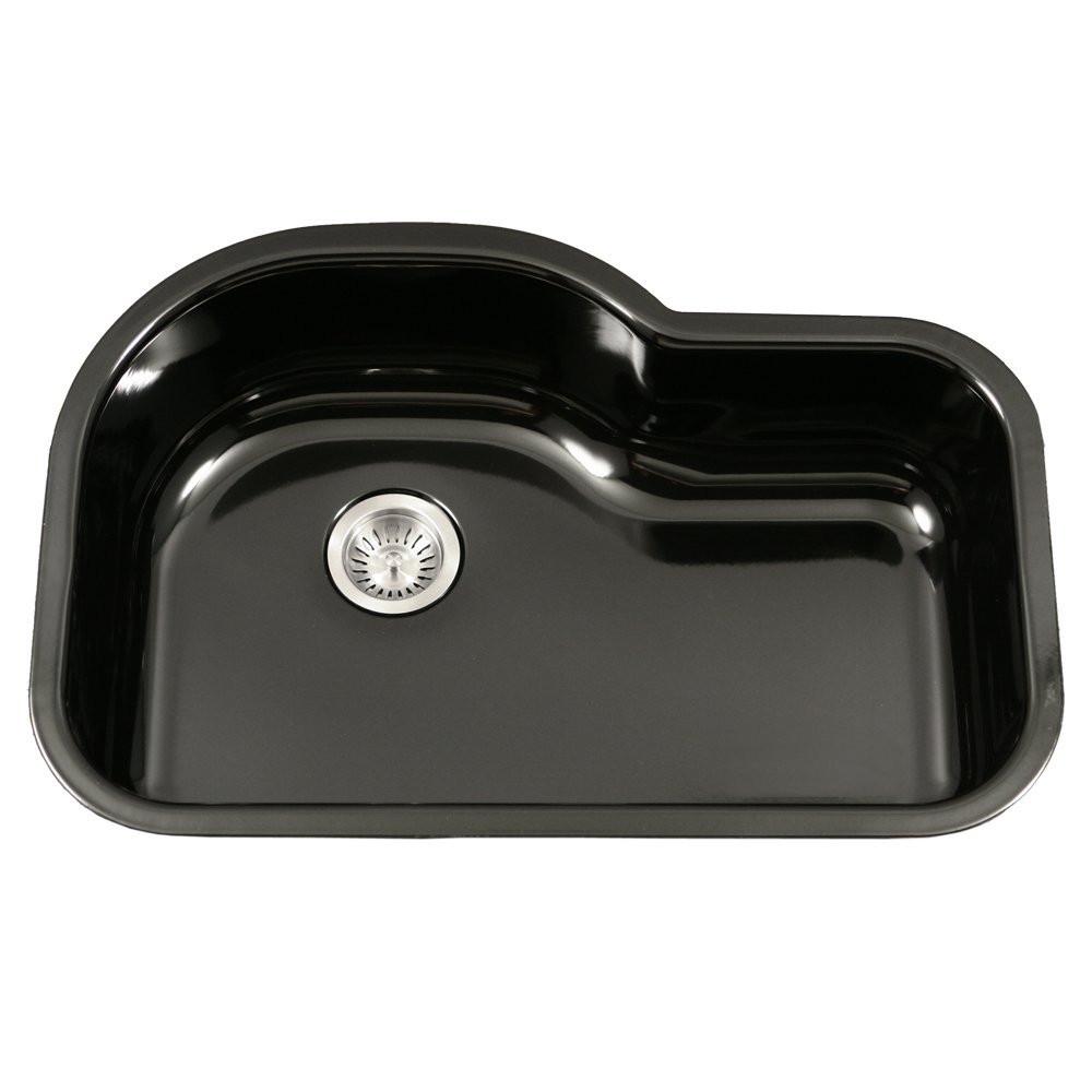 Houzer PCH-3700 BL Porcela Porcelain Undermount Offset Single Bowl Kitchen Sink In Black