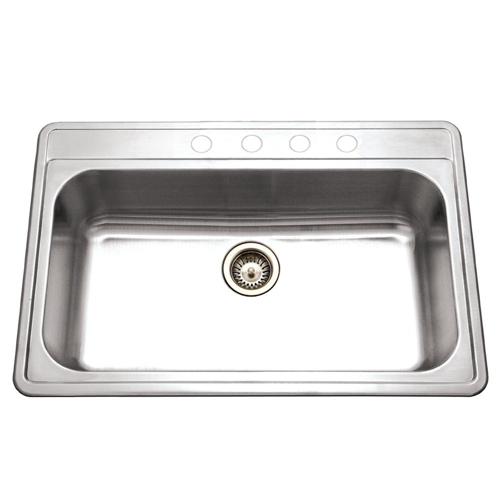 Houzer PGS-3122-4-1 Premiere Gourmet Drop In Stainless Steel Kitchen Sink With 4 Hole