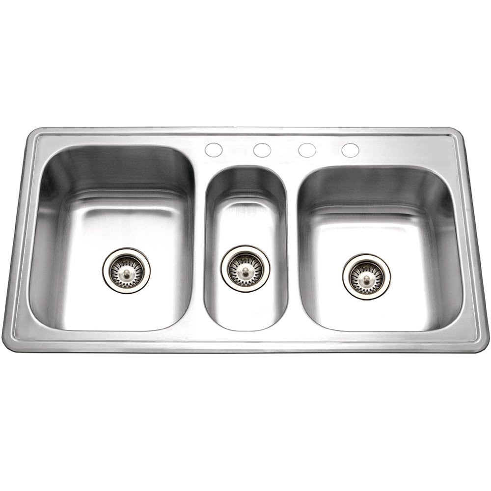 Houzer PGT-4322-1 Premiere Gourmet Drop In Stainless Steel 4 Hole Triple Bowl Sink