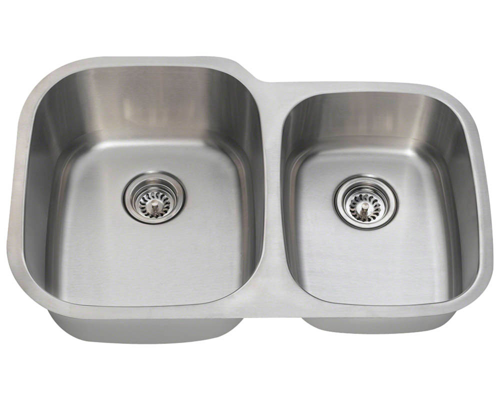 Large Left Bowl  Offset Double Stainless Steel Sink