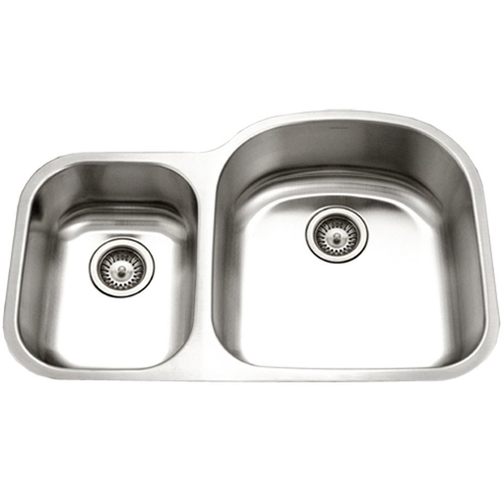 Houzer PNC-3200SL-1 Eston Stainless Houzer PNC-3200SL-1Steel 70/30 Double Bowl Kitchen Sink With Small Bowl Left - View