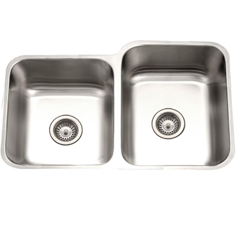 Houzer PNE-3300SL-1 Eston Undermount Stainless Steel 60/40 Kitchen Sink With Small Bowl Left