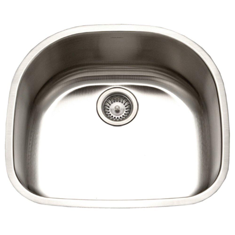 Houzer PNG-2400-1 Eston Series Undermount Stainless Steel Single D Bowl Kitchen Sink