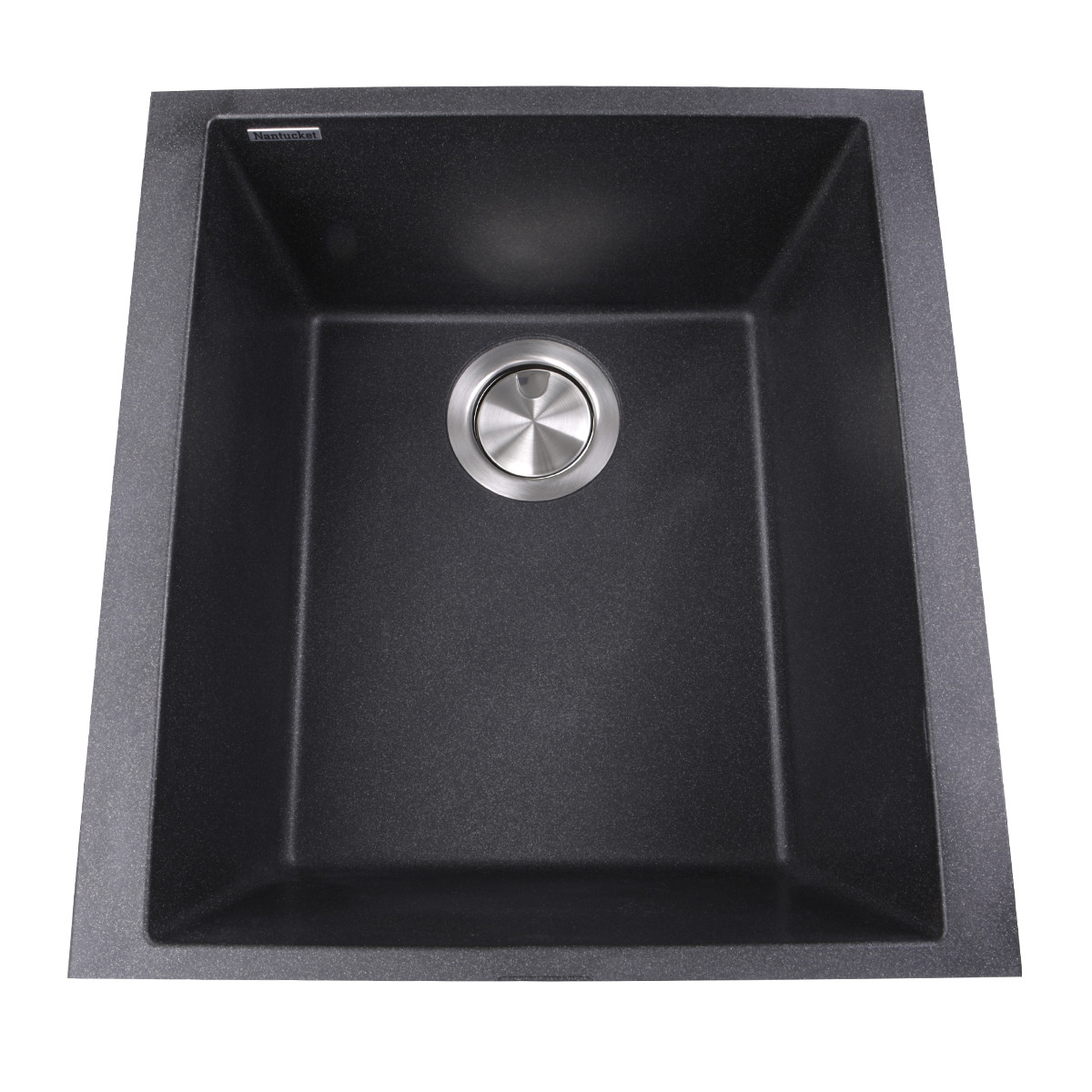 Nantucket Sinks PR1716-BL Single Bowl Undermount Granite Composite Bar-Prep Sink In Black