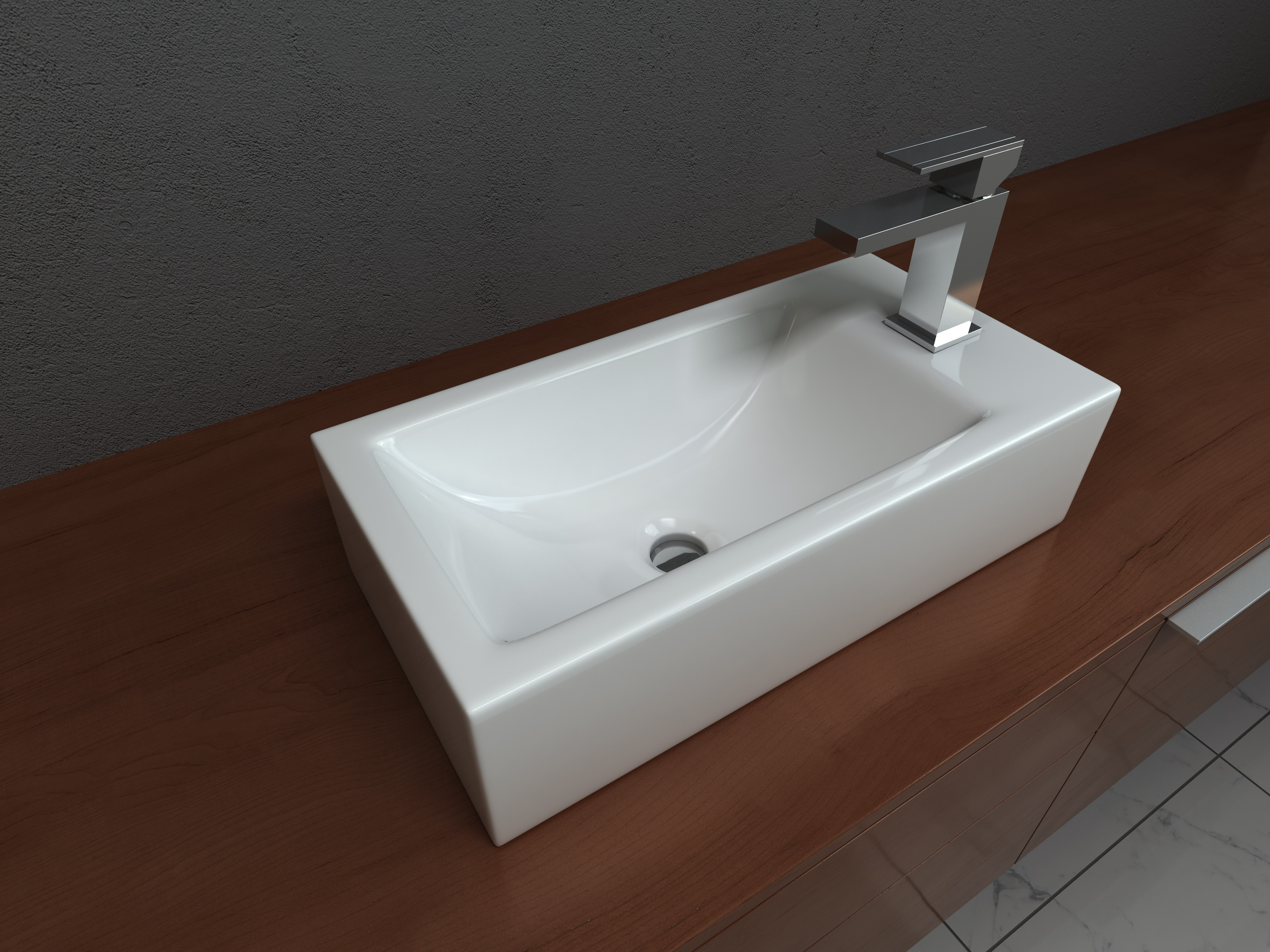 Cantrio Koncepts PS-020 Vitreous China Above Mount Bathroom Sink With Overflow In White