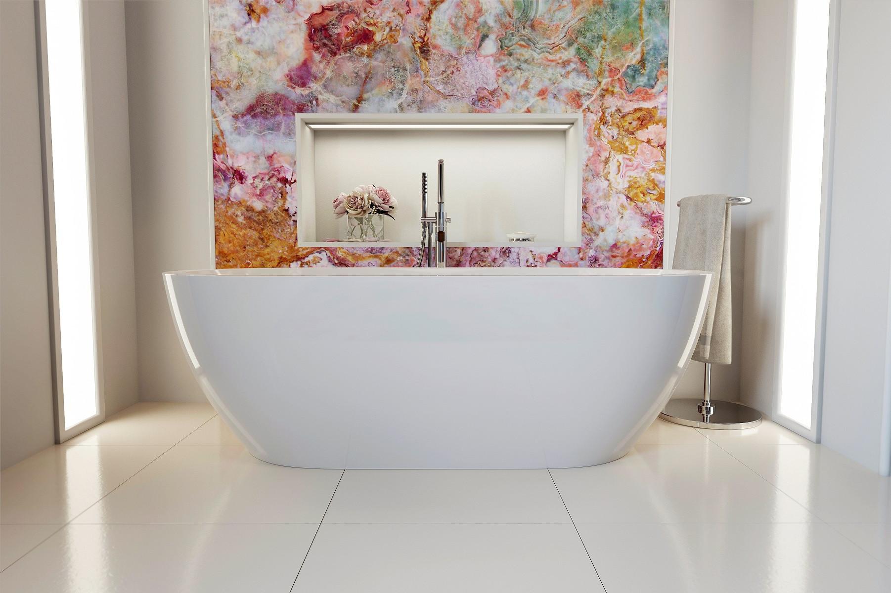 Aquatica PS014E Gloria-Wht Free Standing Acrylic Bathroom Bathtub In White