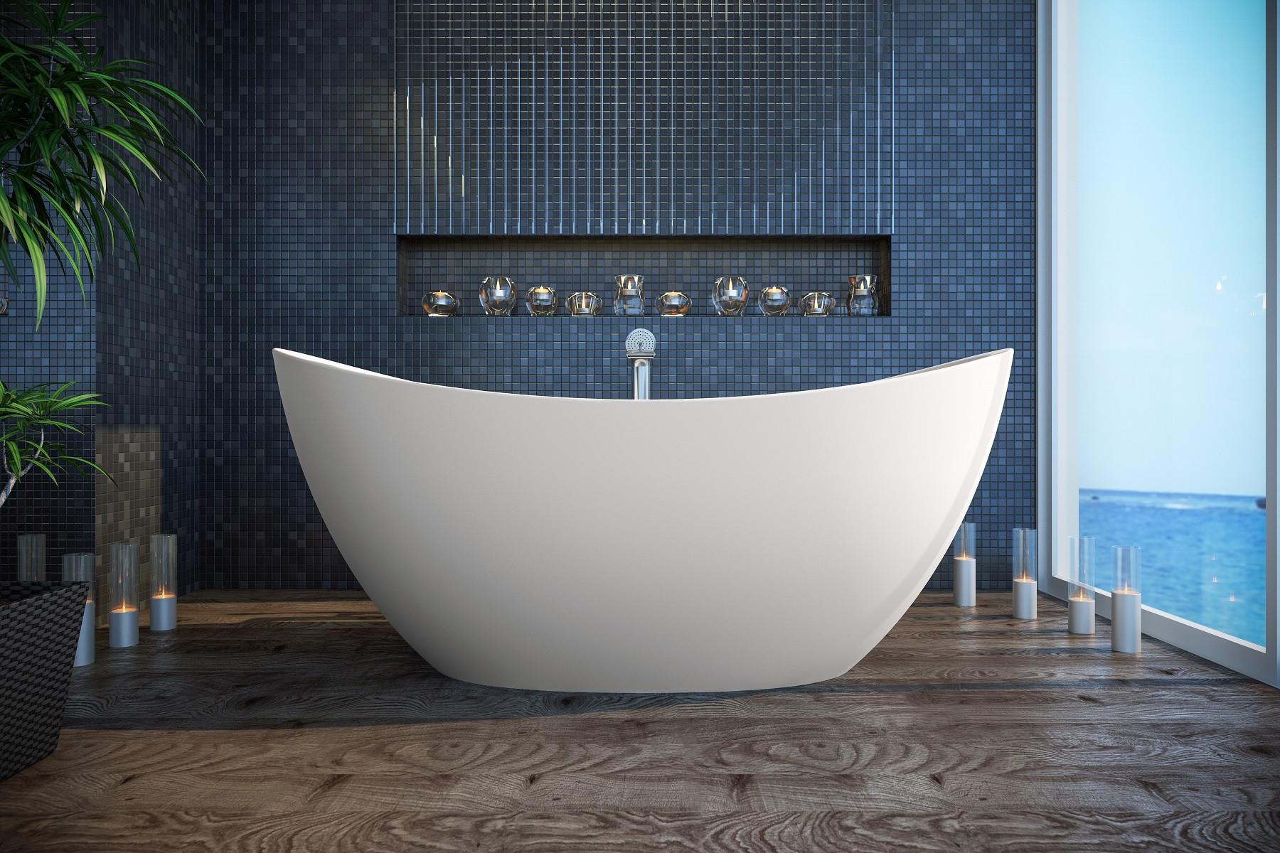 Aquatica PS171M-Wht Purescape 171 Freestanding Solid Surface Bathtub In Matte White
